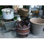 A quantity of garden ornaments, plant pots, etc., to include a metal three tier plant stand,