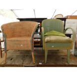 Two Lloyd loom style chairs.