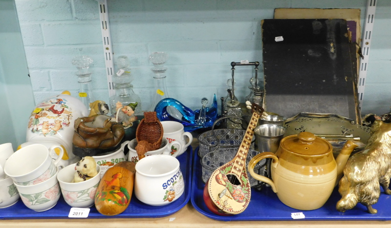 Decorative china, glassware, etc., to include decanters, part cruet, part teawares, brass cast