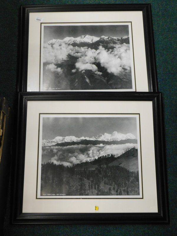 A pair of monochrome photographs, to include a view from the Mall Darjeeling showing Kanchenjunga