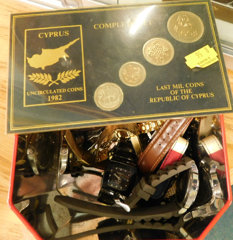 A quantity of wristwatches, to include Sekonda, Cotton Traders, Swiss Line, and a complete set of