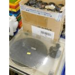 A Pioneer auto return stereo turntable, and a quantity of pianola rolls.