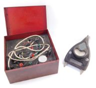 A Morrall & Whiteley Ltd testometer, The Red Box, together with a Davenset High Discharge battery