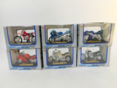 Six Welly die cast model motorcycles, scale 1:18, comprising Honda CBR 1100 XX., 99 Yamaha YZF-