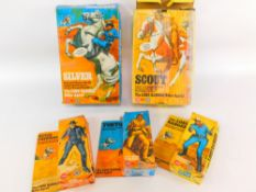 Five Marx Toys Lone Ranger figures, comprising Silver., Scout., The Lone Ranger., Tonto., and