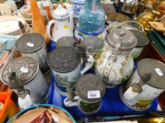 Various Franklin porcelain tankards, The Game Bird stein, limited edition, and various others. (1 tr