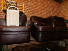 A brown leatherette two seater sofa, chair and a footstool. (3)