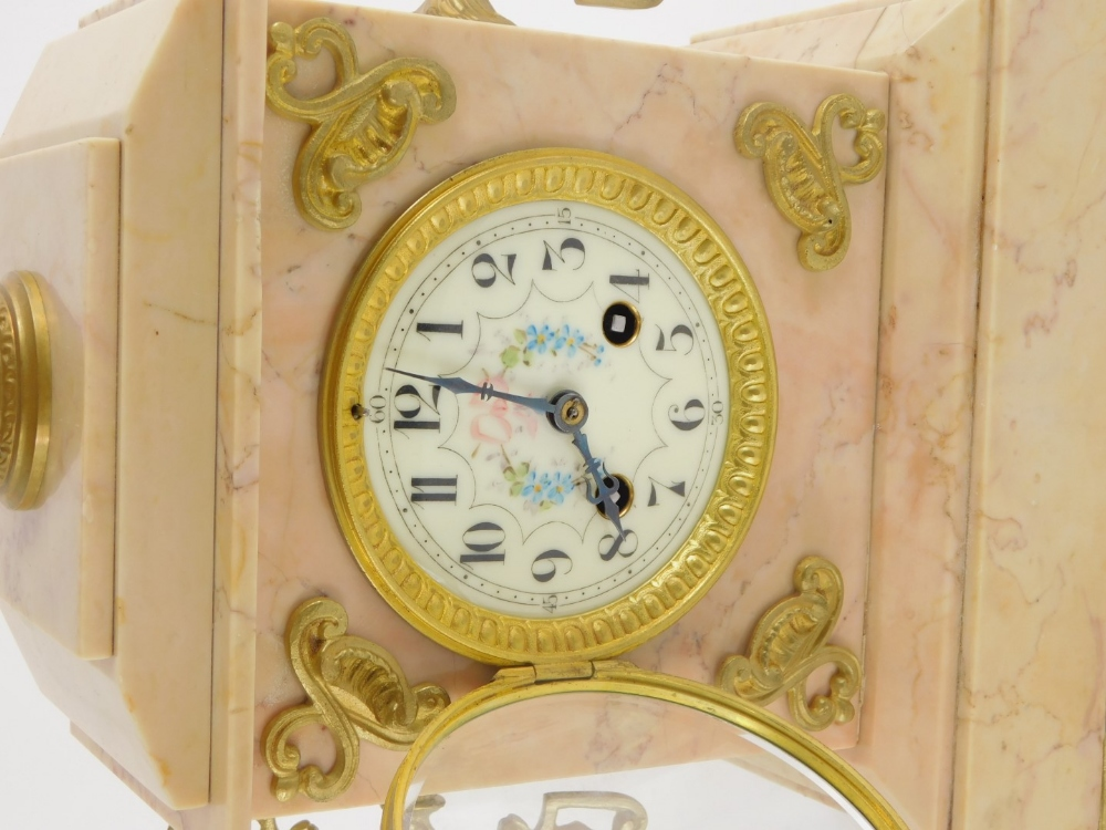 A French late 19thC pink marble mantel clock, with gilt metal mounts, the top with an urn finial abo - Image 2 of 3