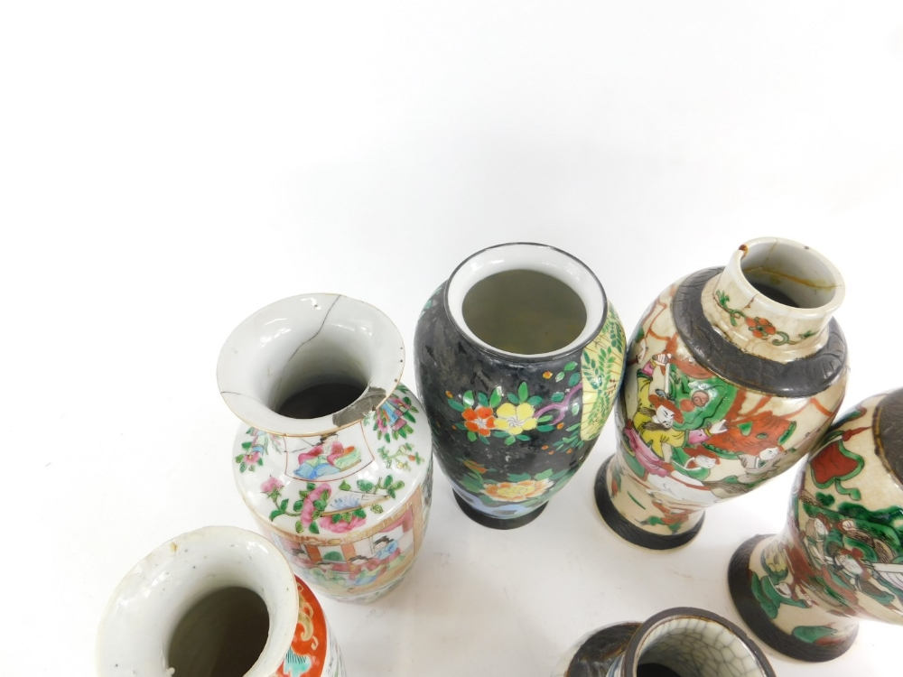 Various oriental porcelain vases, to include a pair of Chinese baluster vases, (AF), a Canton decora - Image 2 of 2