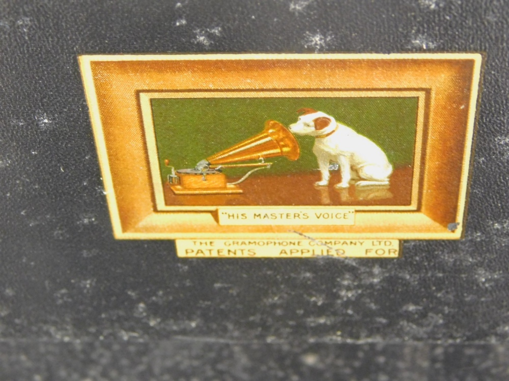 A HMV black canvas cased portable gramophone, with single 78 record. - Image 3 of 3