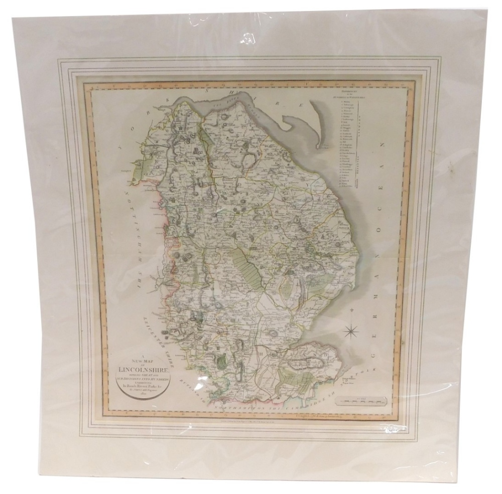 After John Cary. A new map of Lincolnshire, hand coloured, dated 1801, 55cm x 50cm.