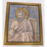 21stC School. Saint fresco, oil on canvas mounted onto board, 78cm x 62cm. Provenance: A prop used d