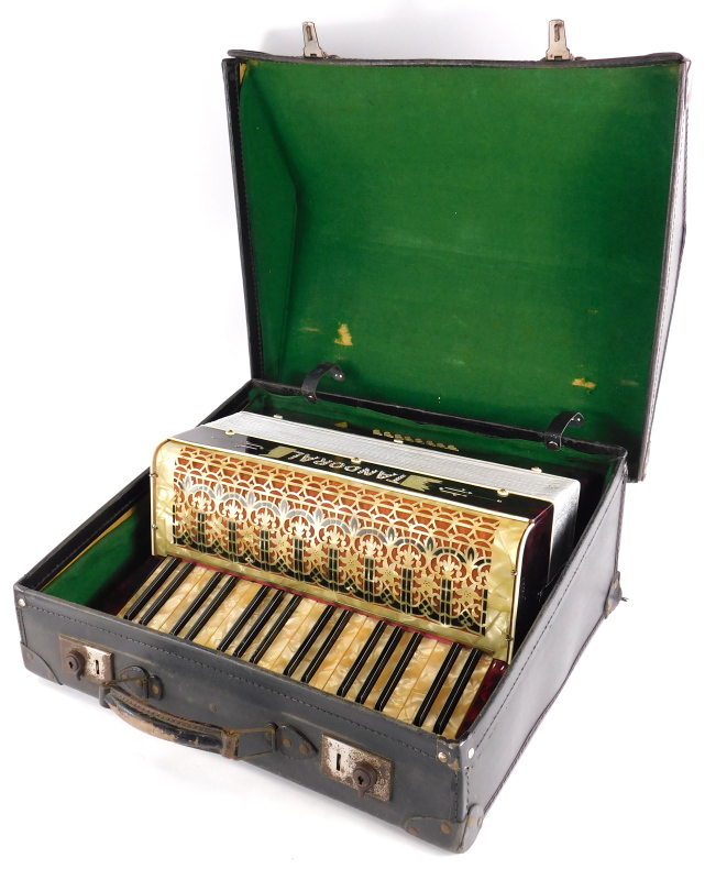 A Tandoral piano accordion, with marble effect decoration, in a fitted case. - Image 2 of 3