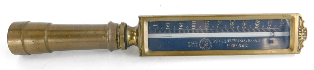 An American Hohman and Maurer steam engine or boiler thermometer, stamped 98 Clerkenwell Road, Londo
