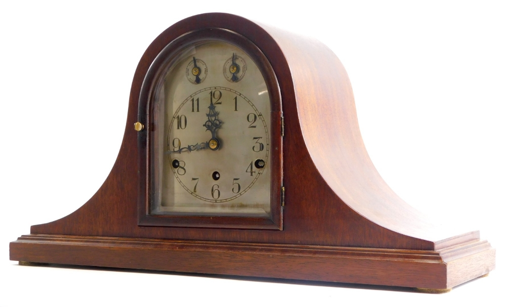 An early to mid 20thC mahogany mantel clock, with Westminster chime, German brass movement and Napol