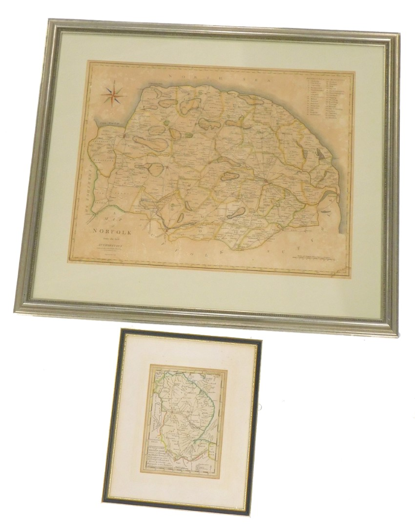 After Cary. A map of Norfolk from the best authorities, later coloured (AF), 42cm x 54cm, and anothe