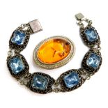 A group of silver and other jewellery, to include a blue paste stone set bracelet, in a white metal
