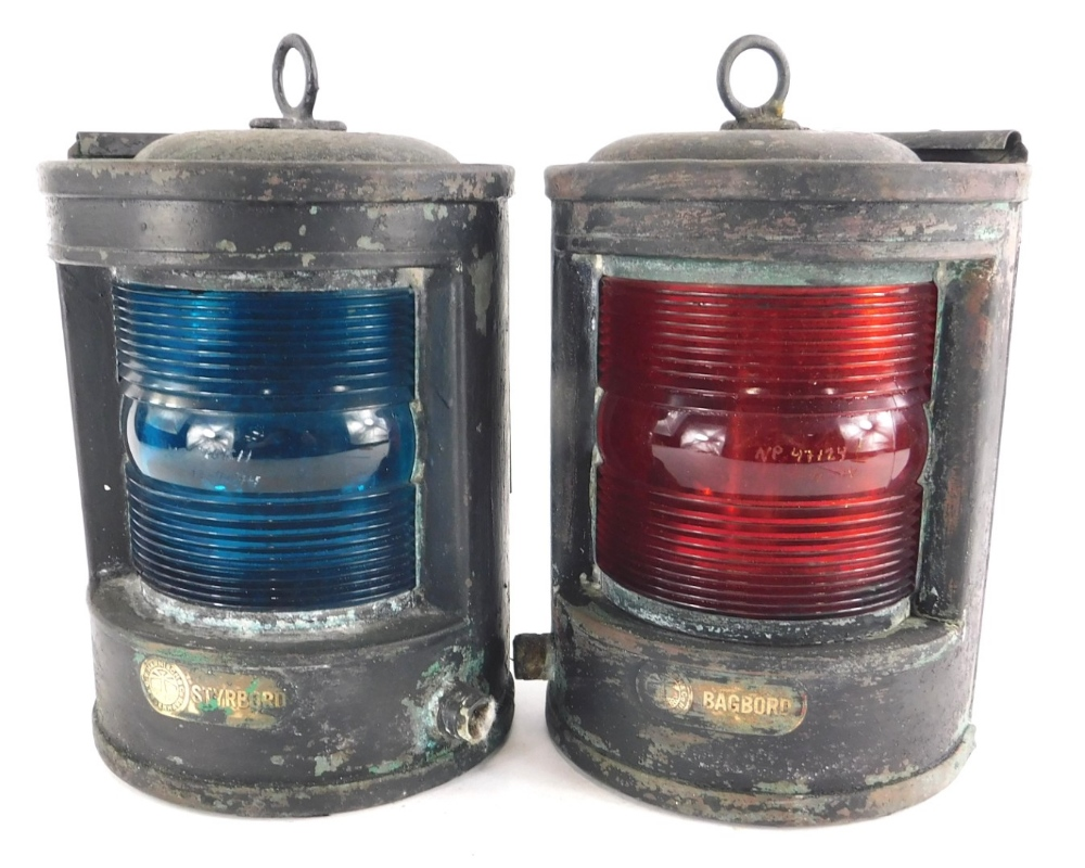 A pair of A.G.V Harnisch and Co ships lamps, for Styrbord and Bagbord.