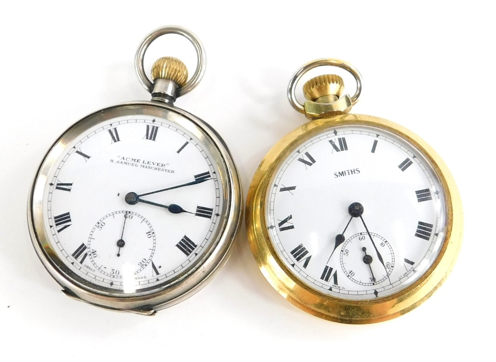 Two pocket watches, to include one silver example with white enamelled dial, marked Acme Lever, with