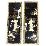A pair of oriental lacquer panels, each with carved shell decoration of figures within a courtyard,