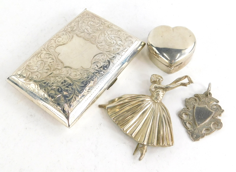 A collection of small silver, to include a Victorian silver cigarette case, decorated with scrolls,