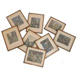 After William Hogarth. South Walk Fair and other coloured prints, each in oak frames. (8)