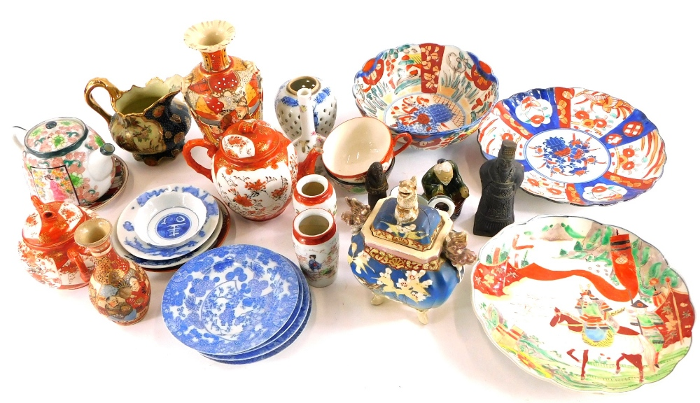 A collection of mainly Japanese porcelain, to include Imari pattern plates, Kutani part tea set, etc
