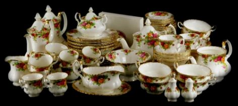 A Royal Albert Old Country Roses pattern part tea and dinner service, etc., to include coffee pots,