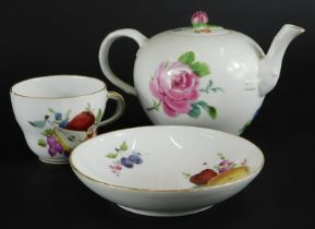 A 19thC Meissen porcelain bullet shaped teapot, decorated with flowers, etc., Marcolini period mark