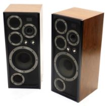 A pair of Wharfedale C E70 speakers, each with two separate dials to the front, (AF), 82cm high, 35c