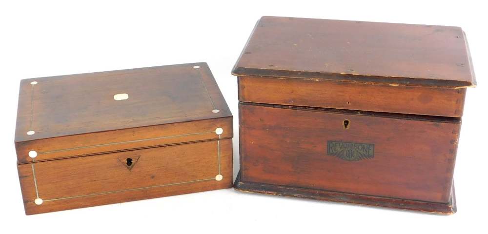 A stained pine box, label for BBC Revorhone, presumably for crystal set and a 19thC rosewood workbox