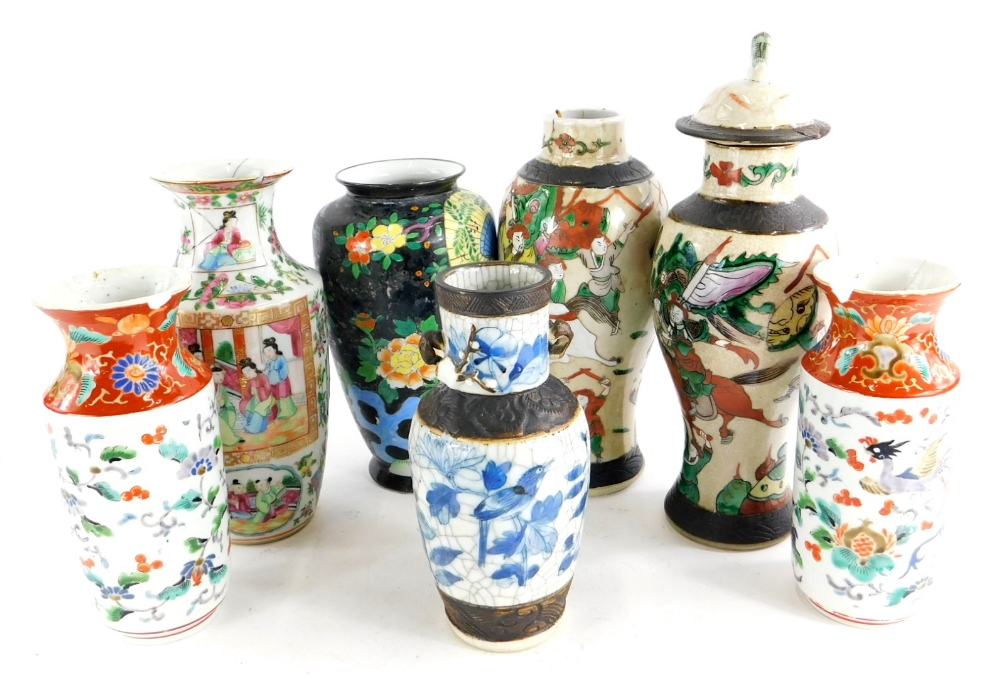 Various oriental porcelain vases, to include a pair of Chinese baluster vases, (AF), a Canton decora