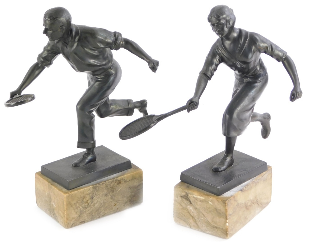 withdrawn presale by vendor- Early 20thC School. Male and female tennis players, bronzed spelter on