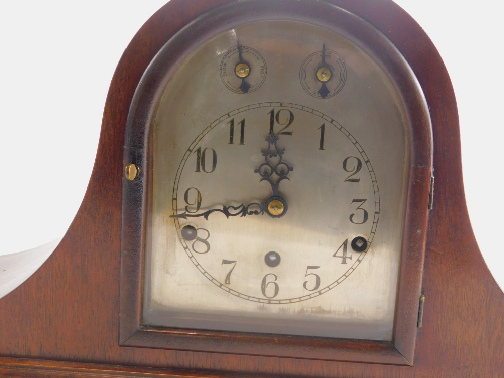 An early to mid 20thC mahogany mantel clock, with Westminster chime, German brass movement and Napol - Image 2 of 3