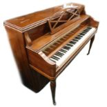 A Heintzman upright grand piano, in a walnut case, with simulated ivory keys, on baluster turned leg