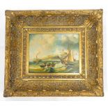 After Charles Webb. Coastal scene with paddle steamer sailing boats, etc., oil on board, 19cm x 24cm