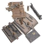 A collection of 19thC and later metalwork, to include a lock, four heavy metal doors possibly for be