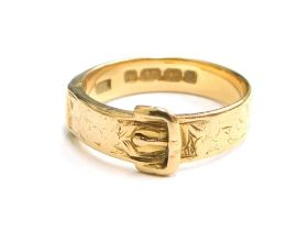 A Victorian 18ct gold buckle ring, Birmingham 1893, ring size N, 4.1g all in.