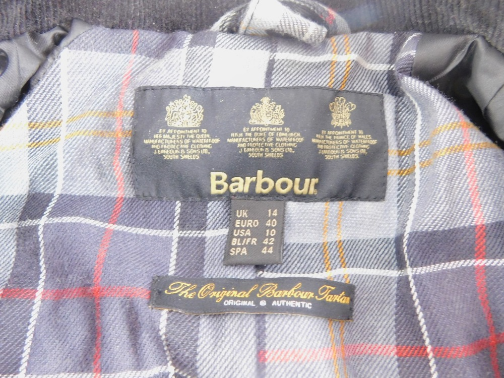 A ladies Barbour black wax jacket, size 14. - Image 2 of 3