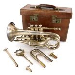 A Hawkes and Son Class A Excelsor Sonorous cornet, in original box, etc.