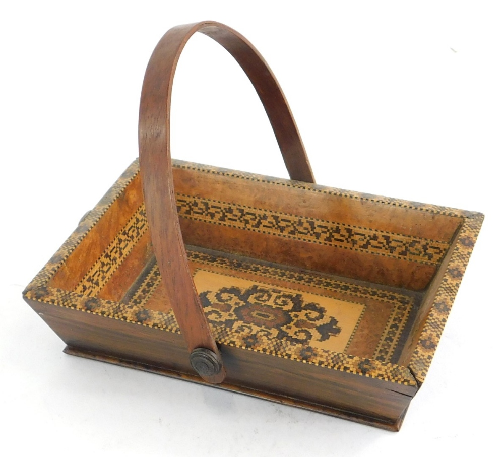 A 19thC Tunbridge ware rosewood basket, of rectangular form with mosaic decoration of a central patt