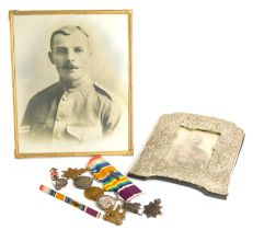 A group of four First World War medals, awarded to a Lieutenant A.E Williams S & T Corp, the 1914-15
