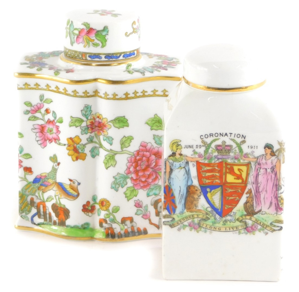 Two porcelain tea caddies and covers, to include a Spode example decorated with birds and flowers in