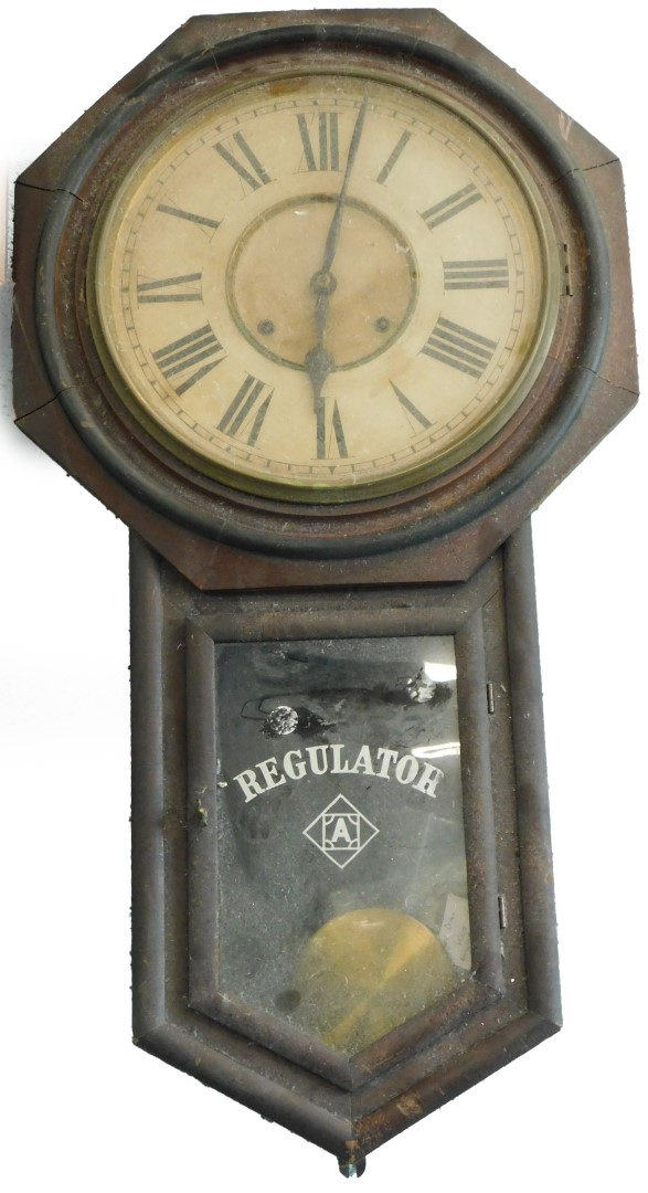A late 19thC American drop dial wall clock, in simulated mahogany case, the paper dial with Roman nu