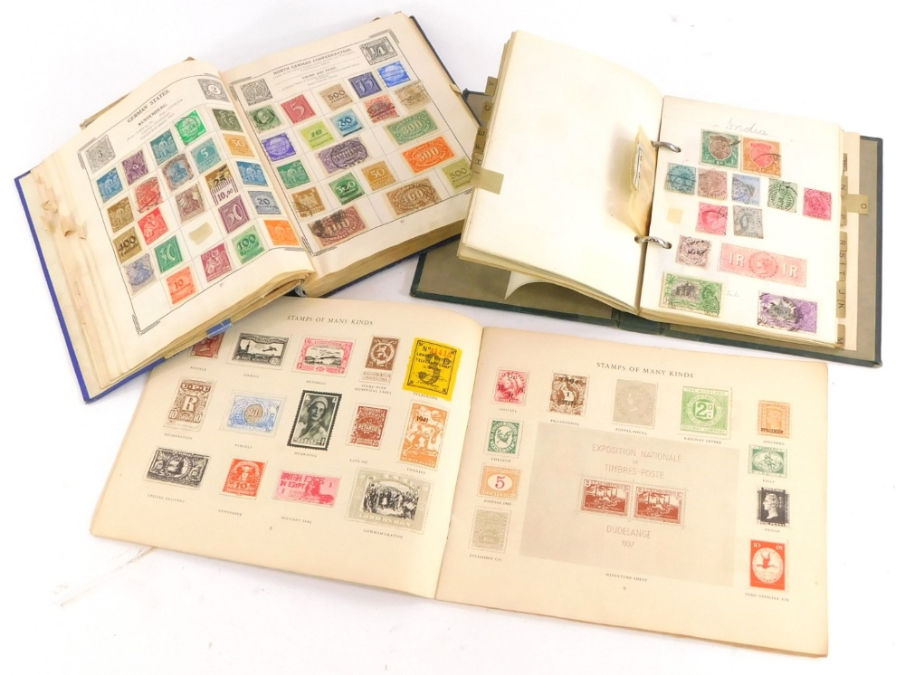 Three small albums of stamps, to include Penny Reds, etc.