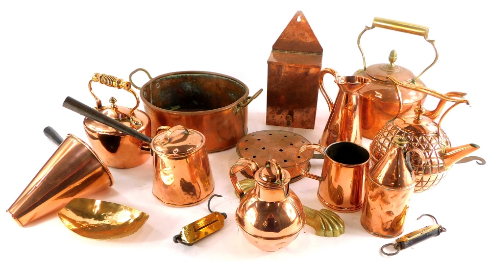 A collection of copper and brass, to include a Benham & Froud Arts and Crafts kettle, copper kettle,