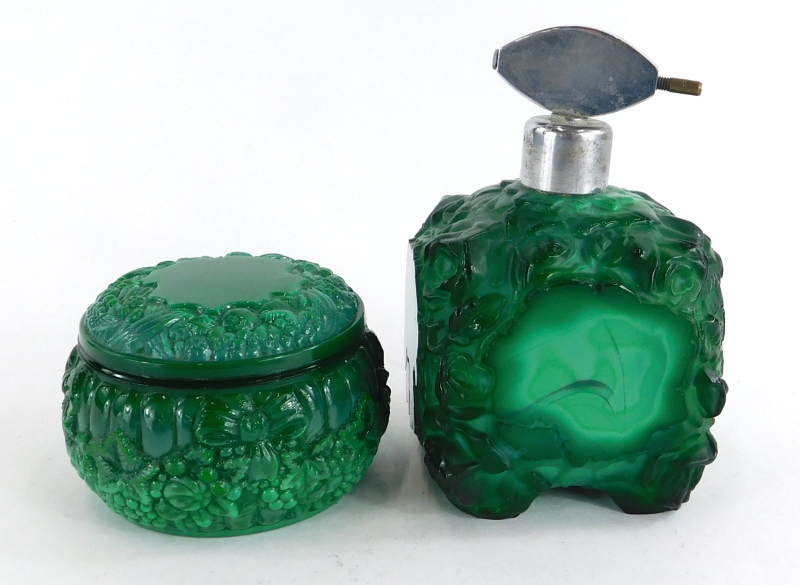 Two 1920s/30s mottled green glass dressing table items, to include a scent bottle and a jar and cove