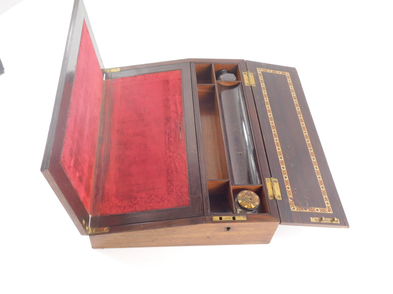 A Victorian rosewood and Tunbridgeware writing box, the top with a mosaic band of flowers, etc surro - Image 2 of 2