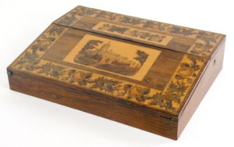 A Victorian rosewood and Tunbridgeware writing box, the top with a mosaic band of flowers, etc surro
