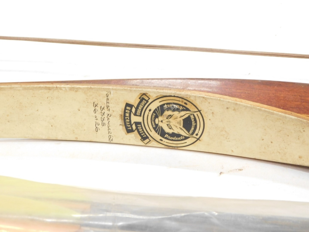 A Marksman Products Sherwood Forest bow craft archery bow, stamped Forest Rangers and various arrows - Image 2 of 3